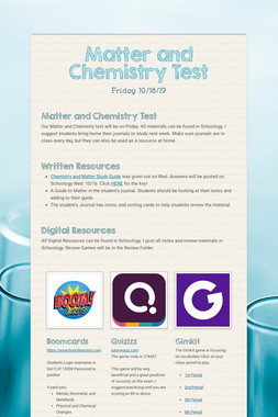 Matter and Chemistry Test