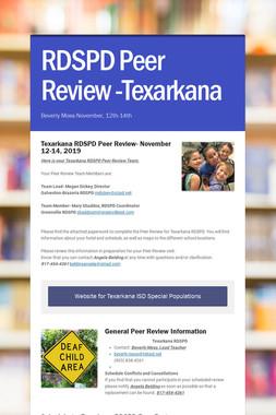 RDSPD Peer Review -Texarkana