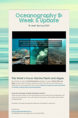 Oceanography B: Week 6 Update
