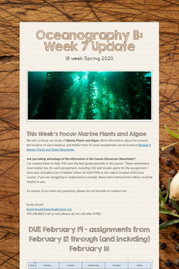 Oceanography B: Week 7 Update
