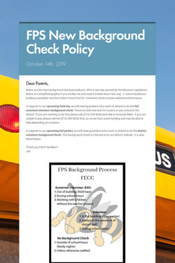 FPS New Background Check Policy