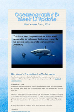 Oceanography B: Week 13 Update