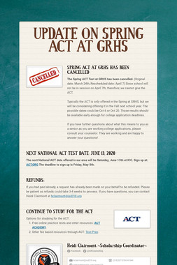 Juniors: Take the ACT Tues Mar 24th