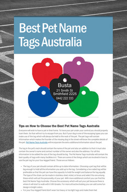 Best Pet Name Tags Australia