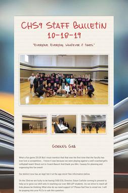 CHS9 Staff Bulletin 10-18-19