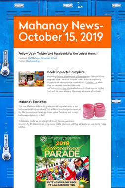 Mahanay News- October 15, 2019