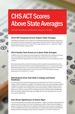 CHS ACT Scores Above State Averages