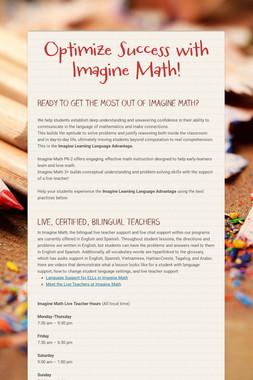 Optimize Success with Imagine Math!
