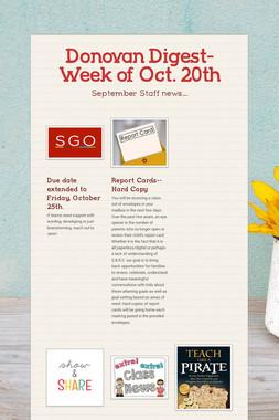Donovan Digest- Week of Oct. 20th
