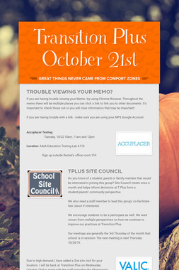 Transition Plus   October 21st