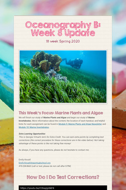 Oceanography B: Week 8 Update