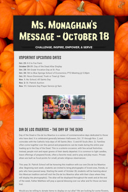 Ms. Monaghan's Message - October 18