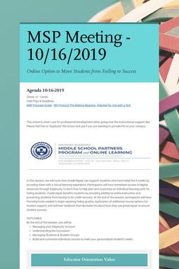 MSP Meeting - 10/16/2019