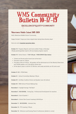 WMS Community Bulletin 10-17-19