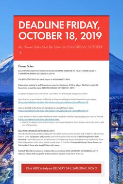DEADLINE FRIDAY, OCTOBER 18, 2019