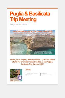 Puglia & Basilicata Trip Meeting