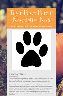 Tiger Paws Parent Newsletter No.5