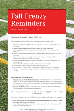 Fall Frenzy Reminders