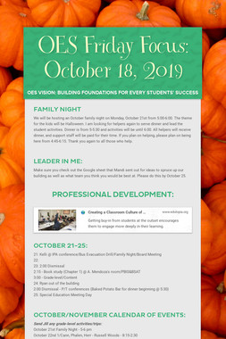 OES Friday Focus: October 18, 2019