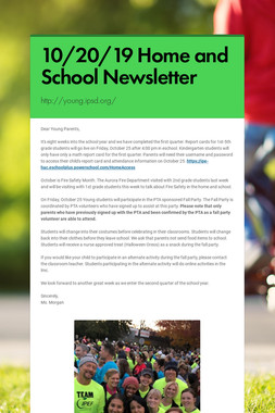 10/20/19 Home and School Newsletter