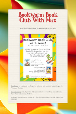 Bookworm Book Club With Max