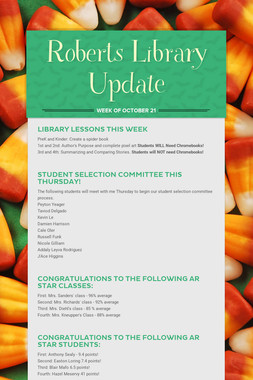 Roberts Library Update