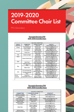 2019-2020 Committee Chair List