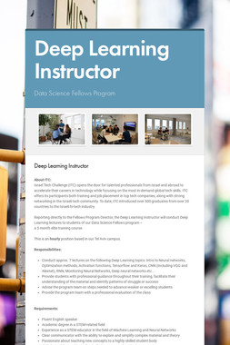 Deep Learning Instructor