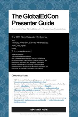 The GlobalEdCon Presenter Guide