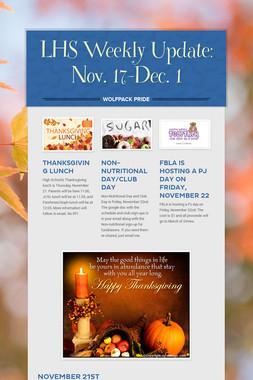 LHS Weekly Update: Nov. 17-Dec. 1