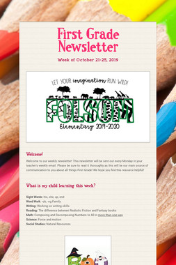 First Grade Newsletter