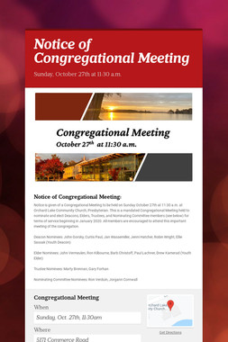 Notice of Congregational Meeting
