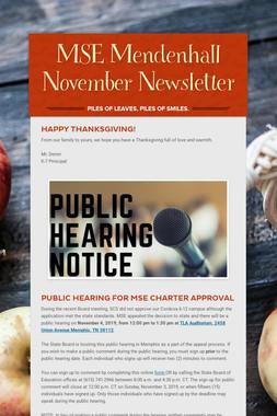 MSE Mendenhall November Newsletter