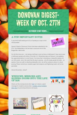 Donovan Digest- Week of Oct. 27th