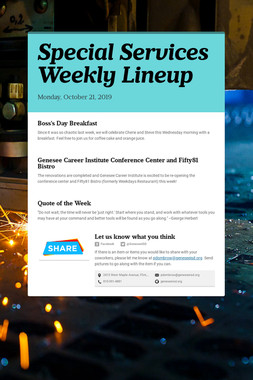 Special Services Weekly Lineup