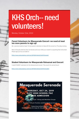 KHS Orch-- need volunteers!