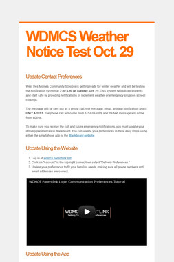 WDMCS Weather Notice Test Oct. 29