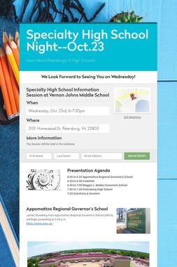 Specialty High School Night--Oct.23