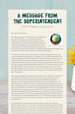 A Message from the Superintendent