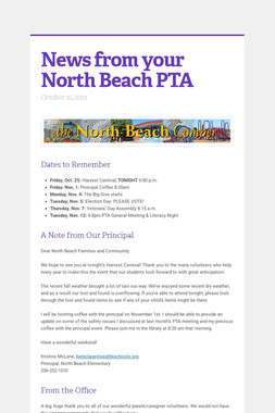 News from your North Beach PTA