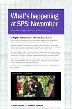 What's happening at SPS: November