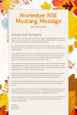 November NSE Mustang Message