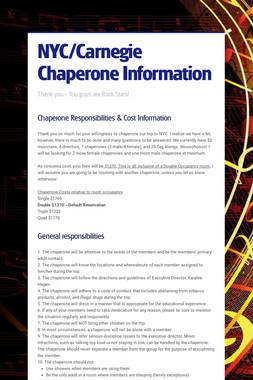 NYC/Carnegie Chaperone Information