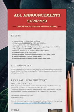 ADL Announcements 10/24/2019