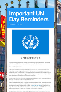 Important UN Day Reminders