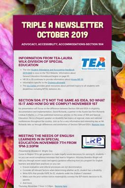 Triple A Newsletter October 2019