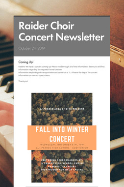 Raider Choir Concert Newsletter