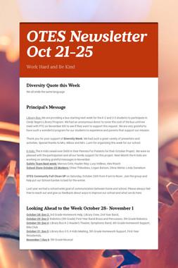 OTES Newsletter Oct 21-25