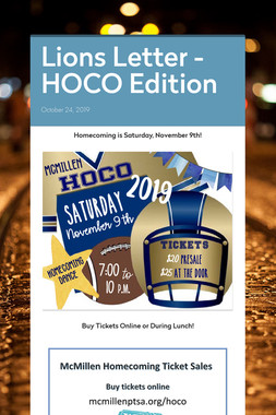 Lions Letter - HOCO Edition