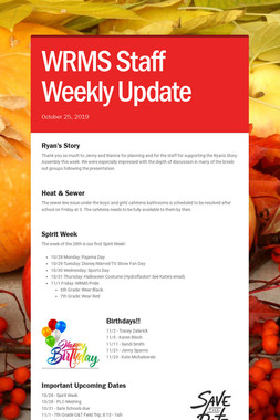 WRMS Staff Weekly Update